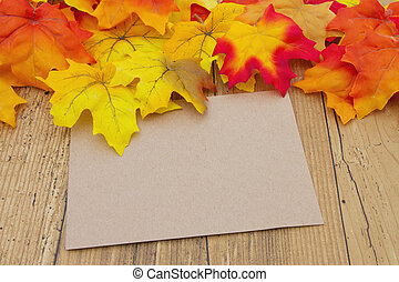 Blank Beige Greeting Card, Autumn Leaves on weathered grunge...