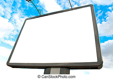Blank billboard against blue sky and clouds