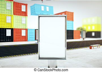 Blank billboard and cargo containers
