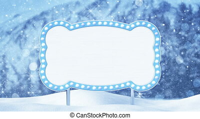 blank billboard and christmas landscape loop - blank...