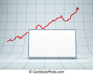 blank billboard and rising graph