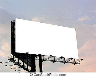 Blank billboard - Empty billboard, late evening sky in the...