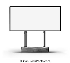 blank billboard for advertising illustration, isolated on white background