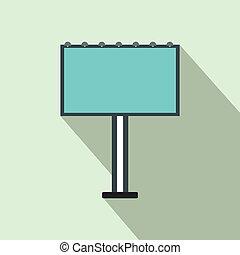 Blank billboard icon, in flat style