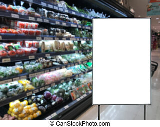 Blank billboard in a supermarket copy space for text message