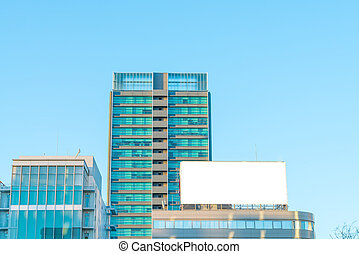 Blank billboard in city