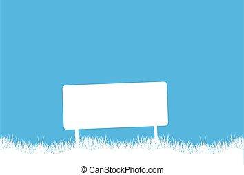 Blank billboard in grass