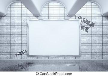 Blank billboard in metro - Metro station with blank...