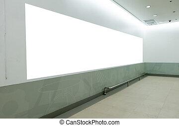 Blank billboard in modern interior hall.