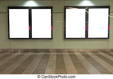 Blank billboard in modern interior hall