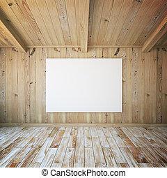 Blank billboard in room
