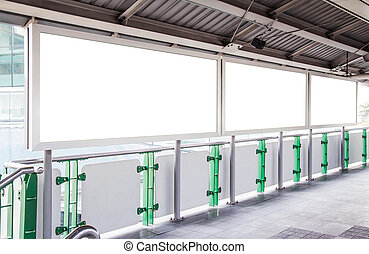 Blank billboard in skytrain station