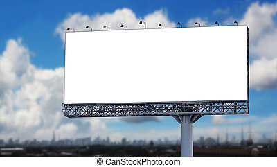 Blank billboard in the city with blue sky
