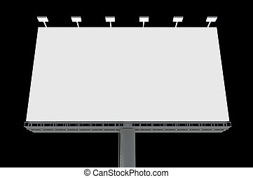 Blank billboard isolated on black background