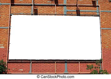 Blank billboard on a brick building