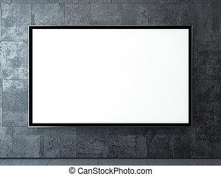 Blank billboard on a dark wall. 3d rendering