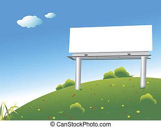 billboard - Blank billboard on a green hill over blue sky
