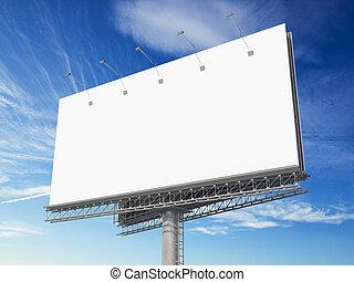 Blank billboard on blue sky background.