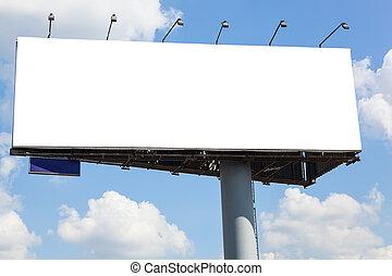 Blank billboard on blue sky background