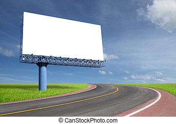 Blank billboard on blue sky with highway