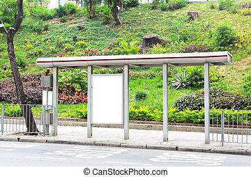 Blank billboard on bus stop