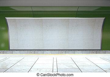 Blank billboard on green subway wall in empty hall, mock up