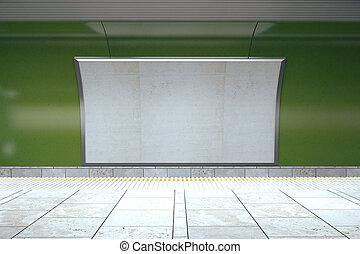 Blank billboard on green wall in empty subway, mock up, 3D render