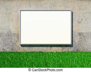Blank billboard on grunge wall