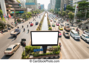 Blank billboard on road/effect blurred background.
