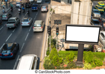 Blank billboard on road/effect blur