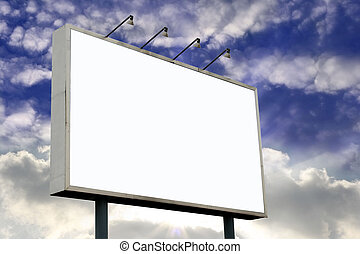 Blank Billboard on Sunset - Blank Billboard with lamps and...