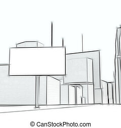 Blank billboard on the abstract urban background