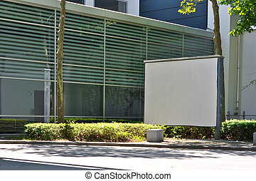 blank billboard on the background of a modern building