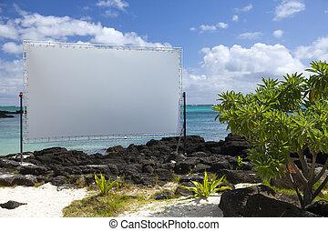 Blank billboard on the beach