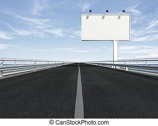 blank billboard on the highway. 3d render