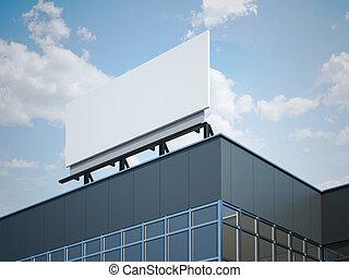Blank billboard on the modern office building