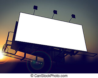 Blank Billboard on the Rising Sun Background.