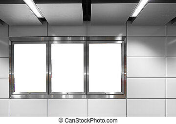 blank billboard on white wall