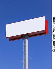 Blank billboard over blue sky - Large white blank billboard...