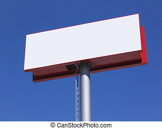 Blank billboard over blue sky - Large white blank billboard...