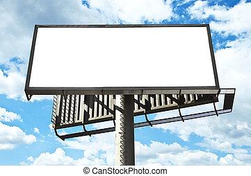 Blank billboard over bright blue sky