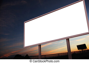Blank billboard over city background