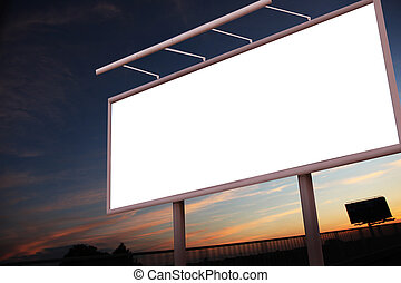 Blank billboard over city background