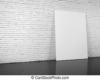 blank billboard over white brick wall