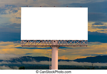 Blank billboard ready for new advertisement with blue sky background