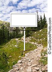 Blank Billboard Sign Along Mountain Trail