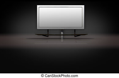 Blank Billboard Sign on Dark 3d Background