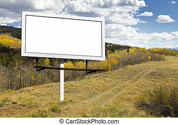 Blank Billboard Sign on Wilderness Path