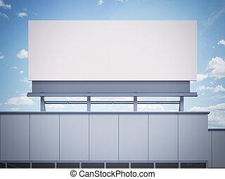 Blank billboard standing on a office building. 3d rendering