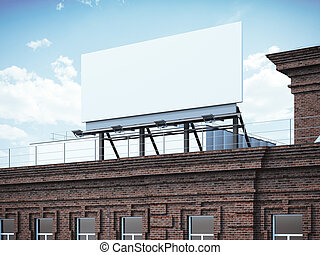 Blank billboard standing on brick building. 3d rendering